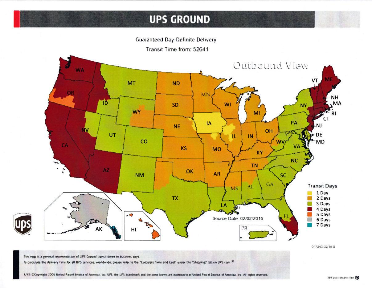 UPS Ground Transit Time Lampline - Ups shipping time map